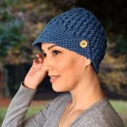 Boina Touca Croche Delicate Azul Cobalto