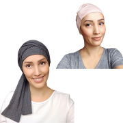 Kit Turbante Feminino Fechado Cinza Chumbo + Touca Sleep Rose