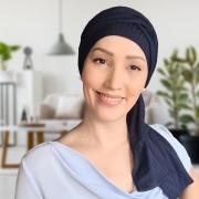 Turbante Feminino com Faixa Canelado Azul Anne