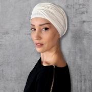 Turbante Feminino com Faixa Canelado Off White Anne