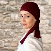 Turbante Feminino com Faixa Canelado Vermelho Bordo Anne