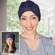 Turbante Feminino Laço Olivia Azul Anil