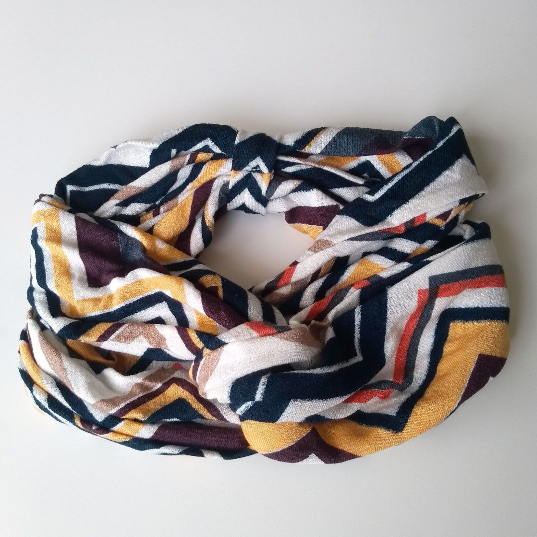 Headband Faixa de Cabelo Turbante Aberto - Nó Frontal - Zig Zag
