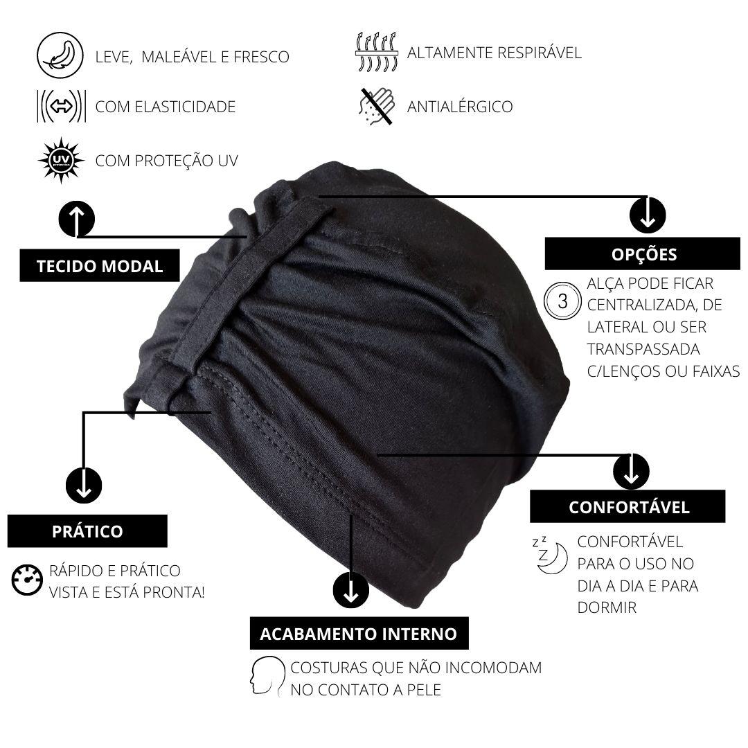 Kit Gorro Crochê Cloud Cinza + Touca Sleep Preta
