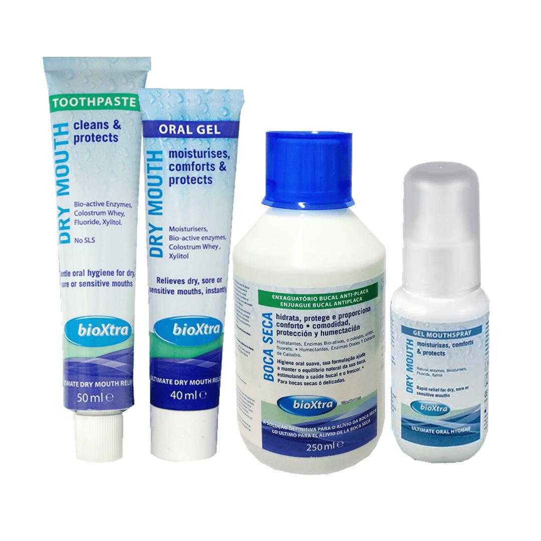 Kit Higiene Cuidado Boca Seca - Xerostomia Bioxtra- 4 Itens