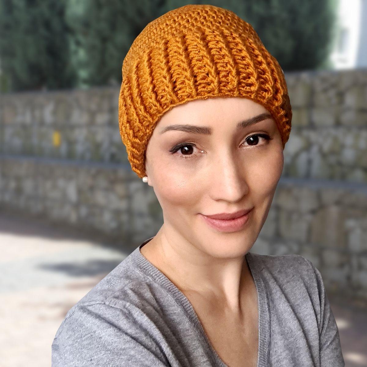Touca Gorro Crochê Curve Amarelo Mostarda