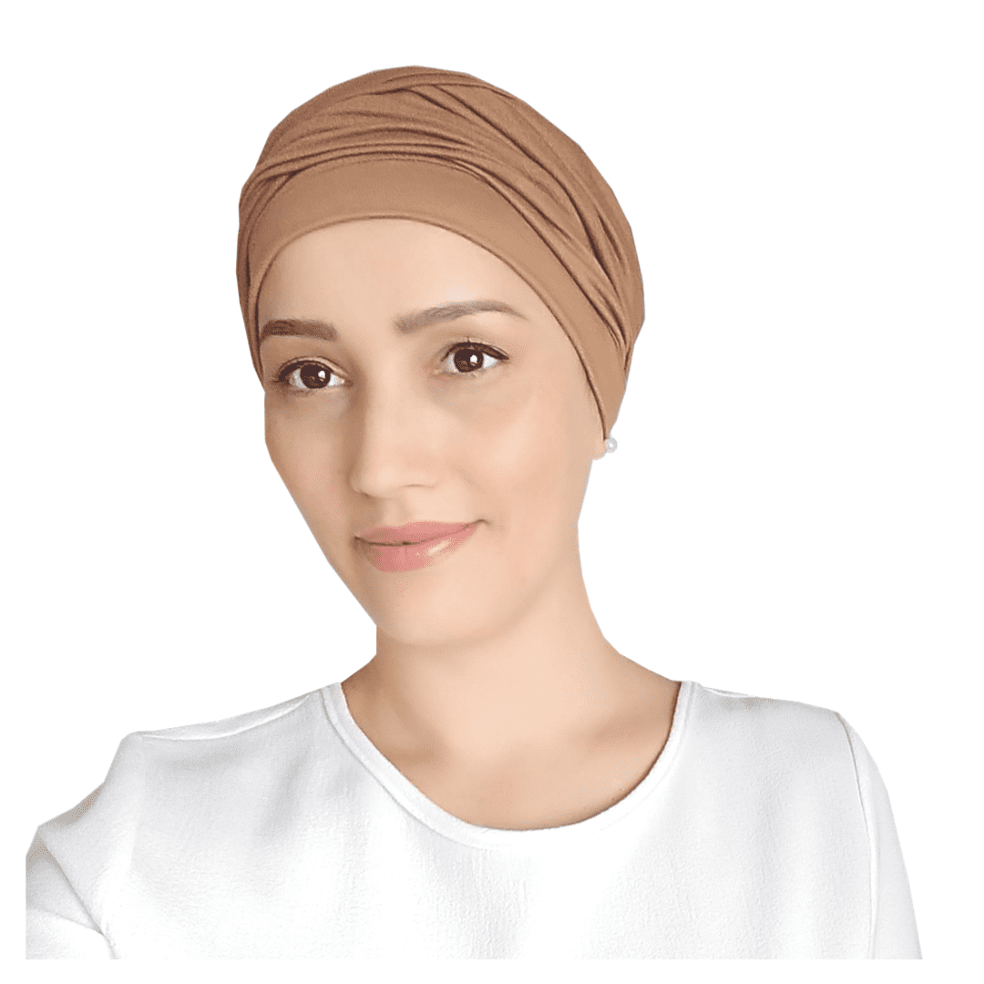 Turbante Feminino com Faixa Liso Bege Areia Anne