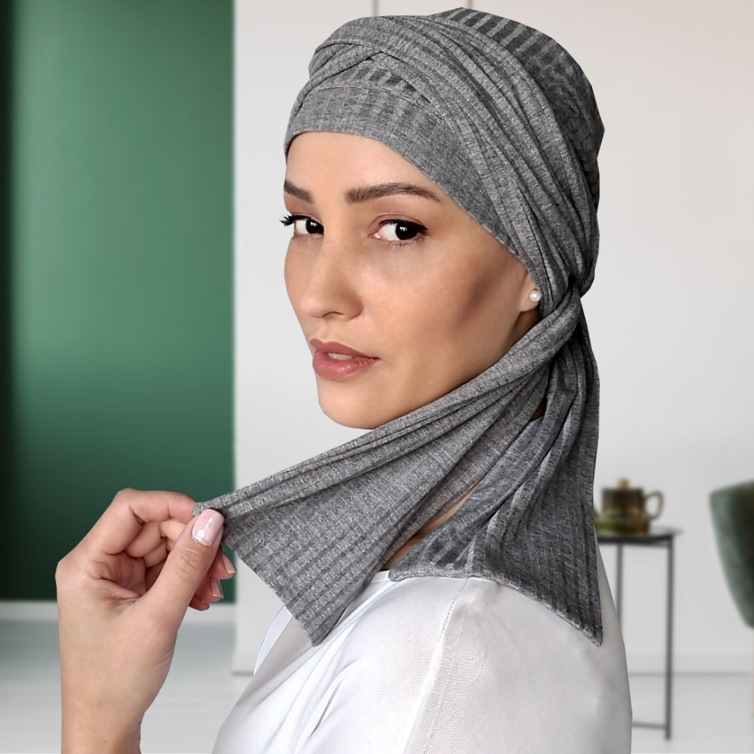 Turbante Feminino com Faixa Canelado Cinza Mescla Anne