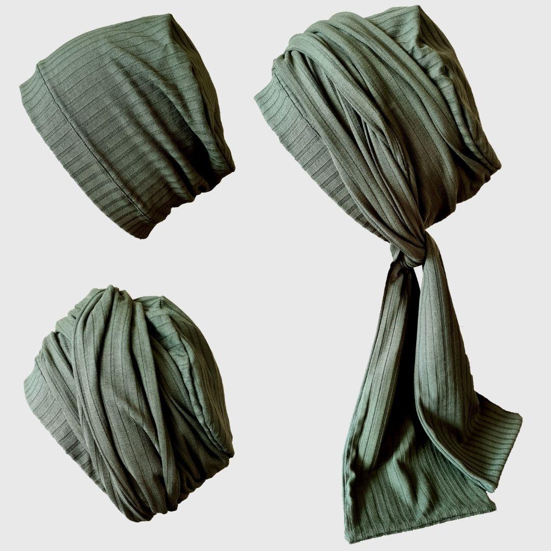 Turbante Feminino com Faixa Canelado Verde Musgo Anne