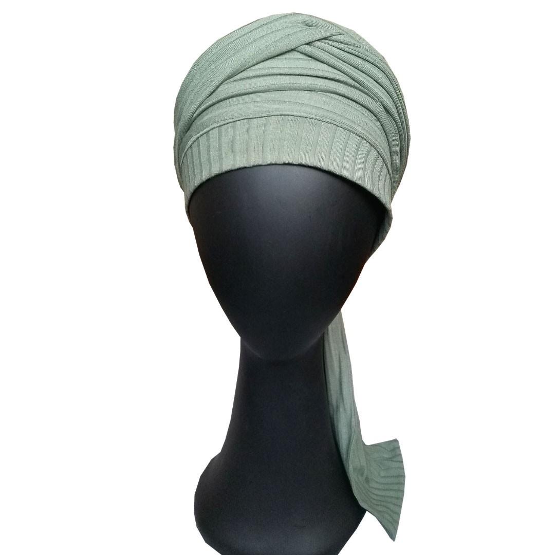 Turbante Feminino com Faixa Verde Pistache Anne Canelado