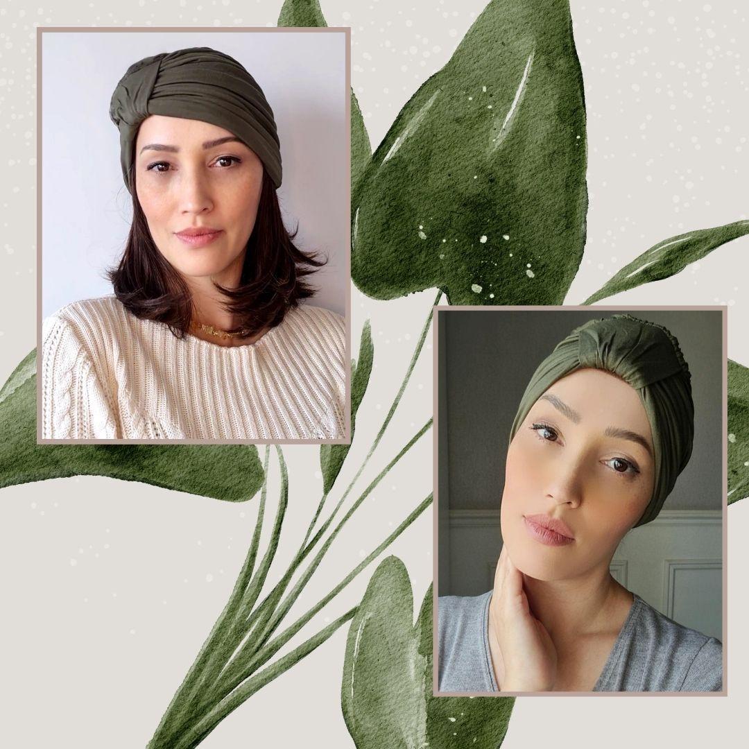 Turbante Feminino Laço Olivia Verde Oliva