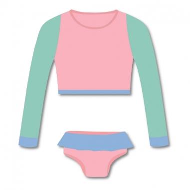 Biquíni Infantil Cropped e Calcinha Proteção UV 50+ Candy Colors