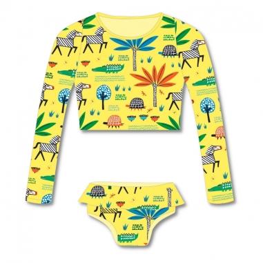 Biquíni Infantil Cropped e Calcinha Proteção UV 50+ Safari