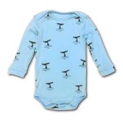 Body Bebê Azul Baleias Manga Longa