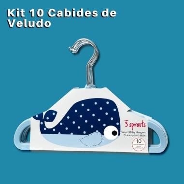 Cabide Infantil 3 Sprouts Veludo Baleia Azul