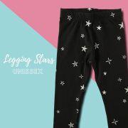 Calça Infantil Legging Unissex Preta Stars