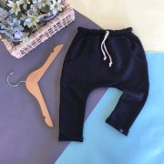 Calça Infantil Saruel Preta com ajuste na cintura