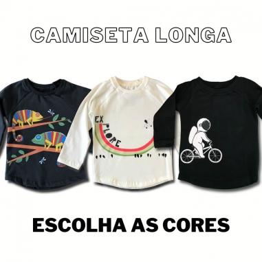 Camiseta Longa Infantil Escolha a estampa