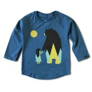 Camiseta Manga Longa Infantil Azul Nina and Bear