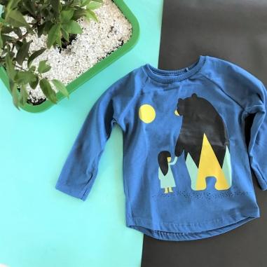 Camiseta Manga Longa Infantil Azul Nina and Bear