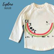 Camiseta Manga Longa Infantil Bege Explore