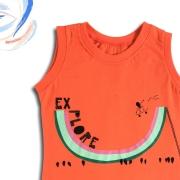 Camiseta Regata Infantil Unissex Explore Laranja