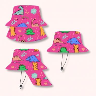 Chapéu Infantil Dupla Face Proteção UV50+ Dino Rosa
