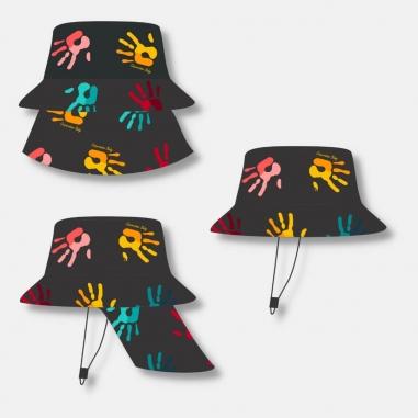 Chapéu Infantil Dupla Face Proteção UV50+ Preto Mãozinhas