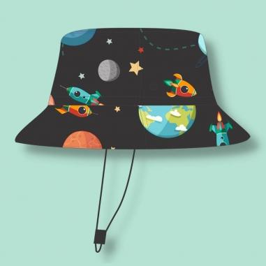 Chapéu Infantil Dupla Face Proteção UV50+ Universo Preto