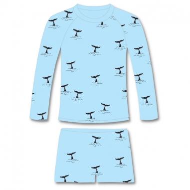 Conjunto Infantil Proteção Solar UV50+ Baleias Camisa + Sunga