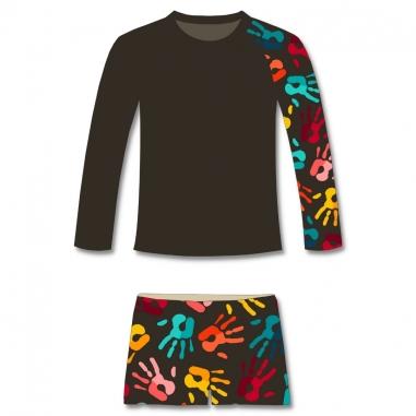 Conjunto Infantil Proteção Solar UV50+ Mãozinhas Camisa + Sunga