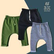 kit 3 calças Inverno Moletinho Coloridas
