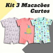 Kit 3 Macacões Curtos