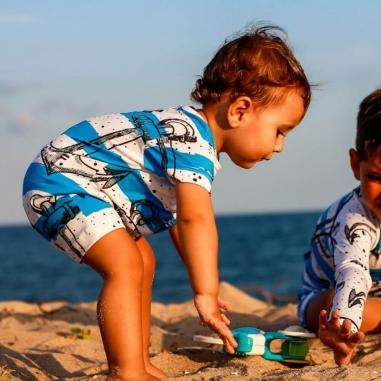 Moda Praia Bebê Âncora Azul