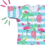 Macacão Bebê Proteção Solar UV 50+ Flamingo