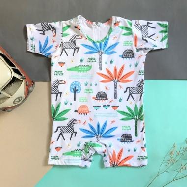 Macacão Bebê Proteção Solar UV 50+ Safari Branco