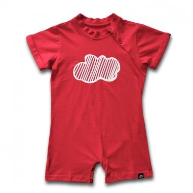 Macacão Curto Infantil Nuvem Vermelho