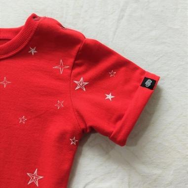 Macacão Curto Infantil Vermelho Estrelas