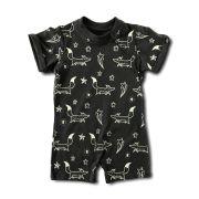 Macacão Infantil Curto Cinza Escuro Brilha no Escuro Raposinhas