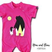 Macacão Infantil Longo Manga Curta Rosa Menina e Urso