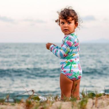 Maiô Infantil Manga Longa com Proteção Solar UV 50+ Flamingo