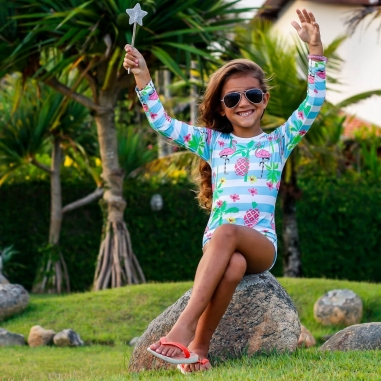Maiô Infantil Proteção Solar - Flamingo