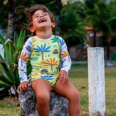 Maiô Infantil Manga Longa com Proteção UV 50+ Safari