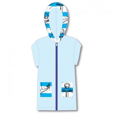 Roupão Infantil Com Capuz Atoalhado Âncoras Azul