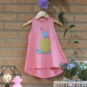 Vestido Infantil Regata a Tartaruga e o Passarinho