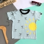 Camiseta Infantil Azul Baleias e Sol