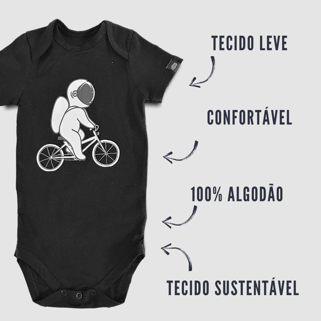 Body Bebê Astronauta Preto Manga Curta