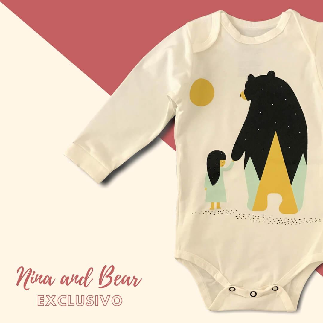 Body Bebê Manga Longa Bege Nina and Bear