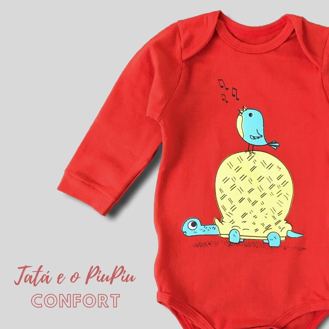 Body Bebê Manga Longa Bordô Tartaruga e o Piupiu