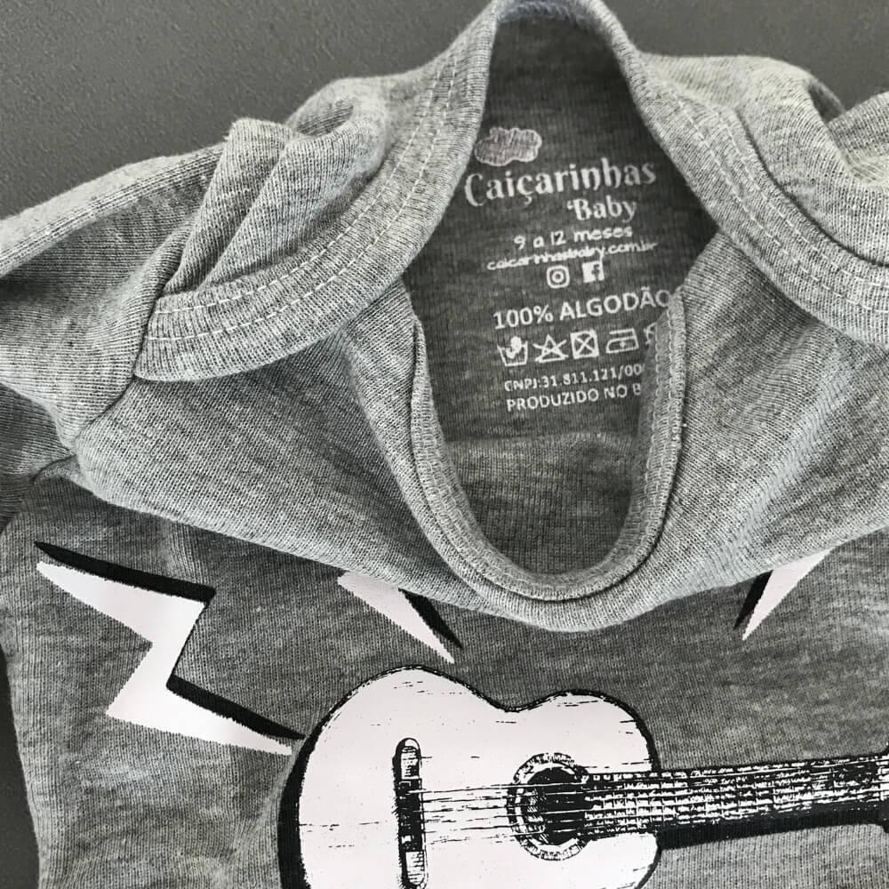 Body Bebê Manga Longa Play Guitar